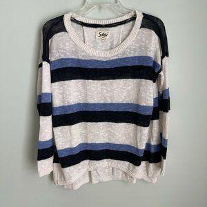 Sogi Blue White Striped Linen Blend Sweater